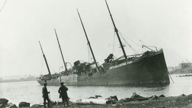 French munitions ship collides with a Belgian relief ship