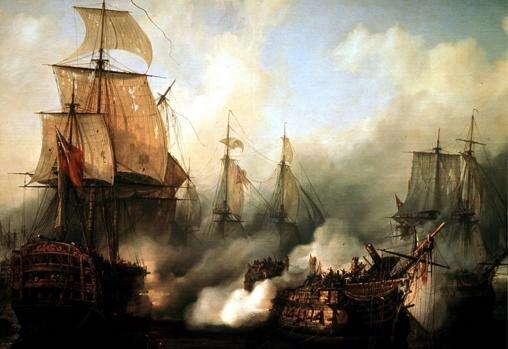 La armada franco-española es destrozada por la flota inglesa