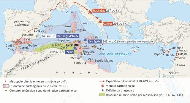 Carthage en Afrique perdra contre les romains et disparaitra