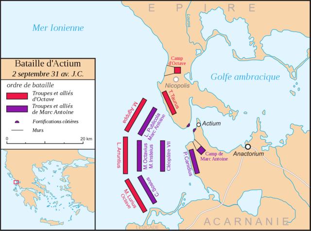 Actium : Défaite Egyptienne à la bataille navales près d'Actium en Grèce