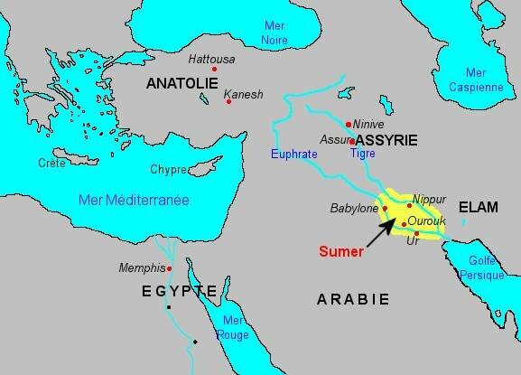 début de la civilisation sumérienne entre le Tigre et l'Euphrate