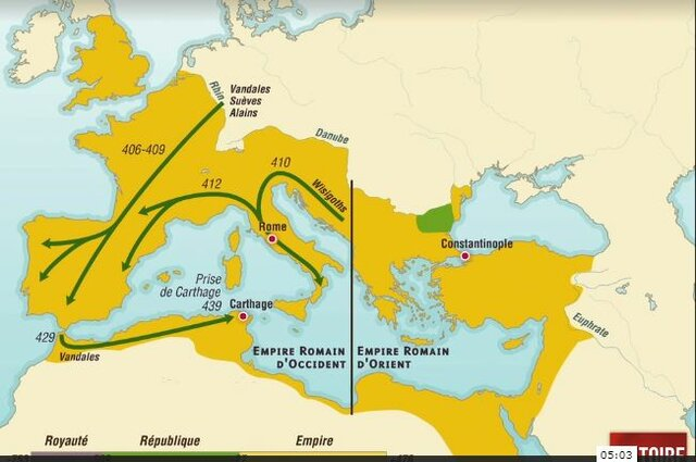 Début des invasions barbares