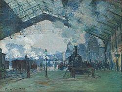 the gare saint-lazare arrival of a train