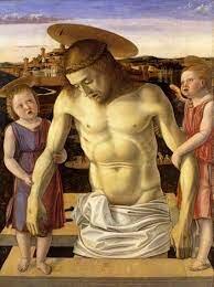 cristo muerto sostenido por dos angeles
