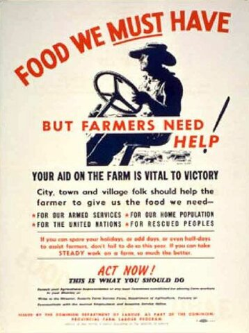 Farmers met with substantially increased demand for produce for soldiers as Canada enters war.