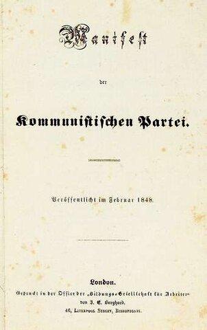 Pubblicazione Manifesto del Partito Comunista