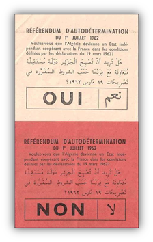 The French majority votes for independence of Algeria