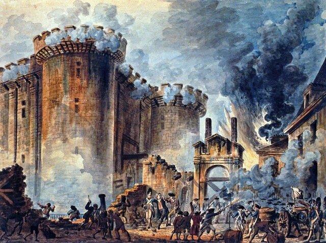 koning stuurt het leger en een menigte trekt naar de Bastille om die te veroveren