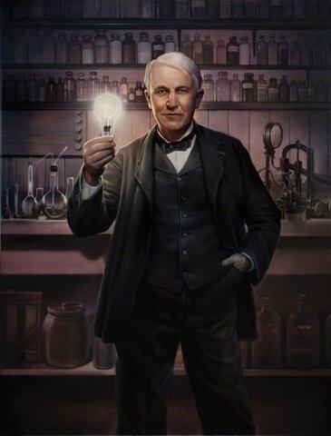 Edison ya era conocido como padre de las bombillas incandescentes.