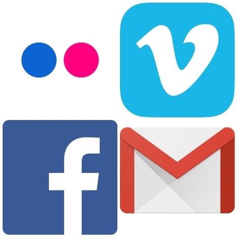 Facebook, Gmail, Flickr y Vimeo