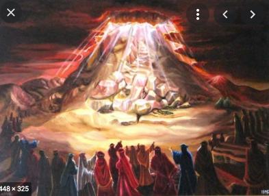Jews receive the Torah at Mount Sinai