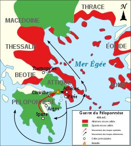 Guerre du Péloponnèse entre Sparte et Ahènes de431 à 404
