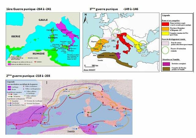 Début des guerres puniques (les carthaginois contre les romains)