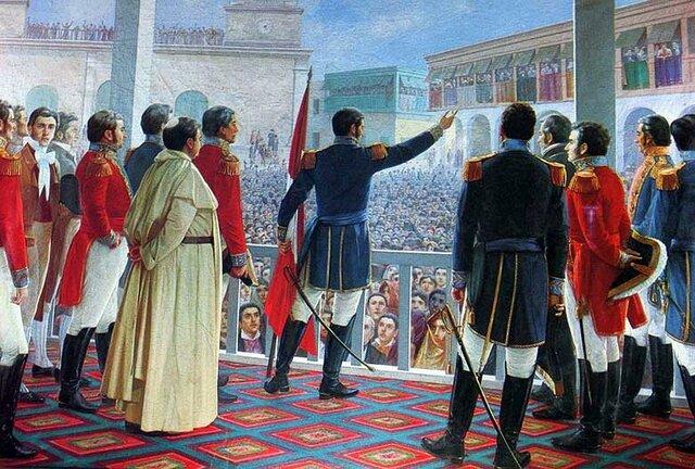 San Martin proclama la Independencia del Perú.
