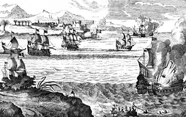 Seven ships arrive at Jamestown