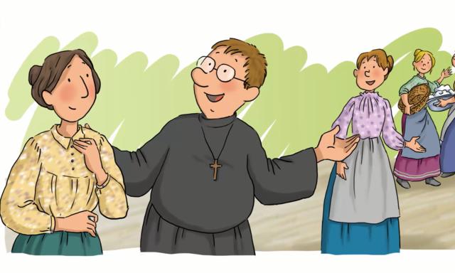 7.- don Pestarino lee una carta de Don Bosco dando principio al sueño de un nuevo Instituto religioso.