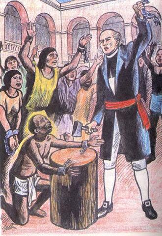 en la ciudad de Guadalajara (México), el sacerdote Miguel Hidalgo y Costilla declara la abolición de la esclavitud.