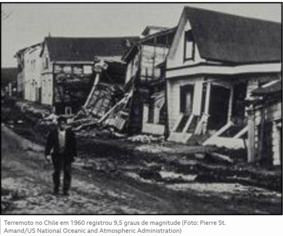 Sismo de Valdivia de 1960 (Chile) Fonte: Wikipedia e BBC É o maior terremoto mensurado por instrumentos da História. Deixou 6 mil mortos.