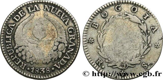 1838, año escrito en la moneda oficial de la República de la Nueva Granada, el Real.