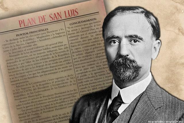 """Francisco I. Madero escribe el """"Plan de San Luis Potosi""""."""