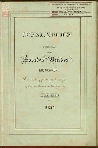 Constitucion Politica de los Estados Unidos Mexicanos 1857