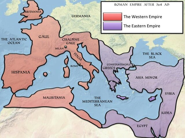 The empire is divided between East and West
