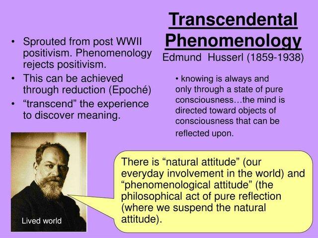 Edmund Husserl Transcendental Phenomenology