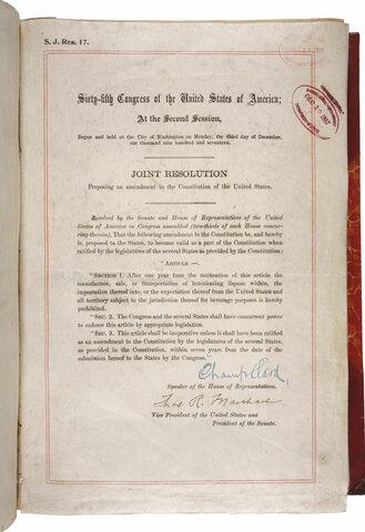 The 18th Amendment established