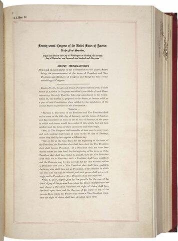20th Amendment was adopted