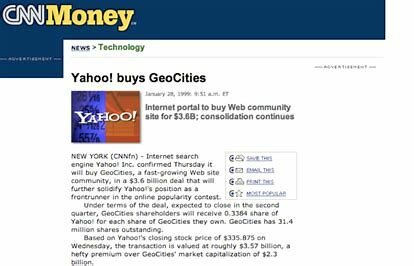 Yahoo! bought GeoCities