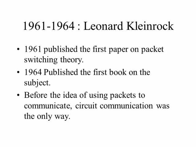 The first paper on packet switching