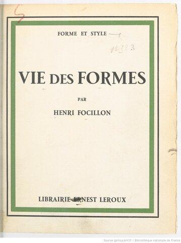 1934 La Vie Des Formes (Focillon)