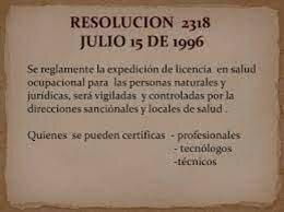 Resolución 2318 de 1996