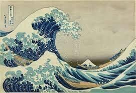 Ukiyo-E la gran ola acercándose a la costa Kanagawa, Japón