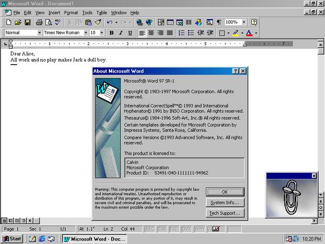 Microsoft office 97/98