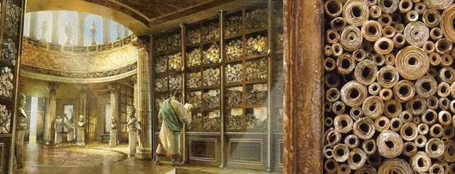 La biblioteca de Alejandría ( alrededor de los 285 a.C)