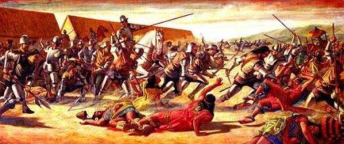 Pizarro toma prisionero Atahualpa(Inca)  que estaba desarmado