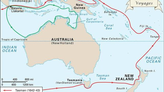 Abel Tasman explores Tasmania