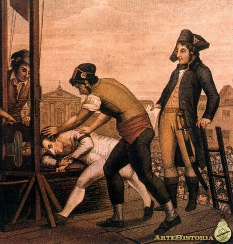 Cae Robespierre, siendo guillotinado