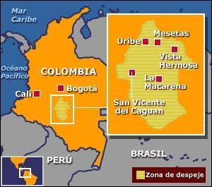 Municipios que conformaban la zona de despeje