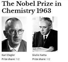 K. Ziengler e G. Natta ricevono il Nobel per aver inventato dei catalizzatori per sintetizzare i polimeri