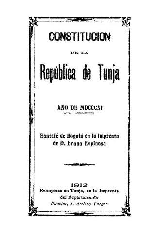 1811 - Promulgada constitucion de la republica de Tunja