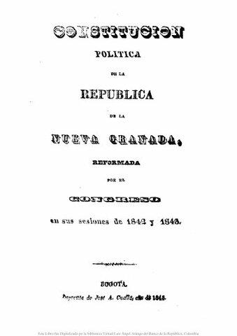 1843 - Constitución Política de la República de la Nueva Granada