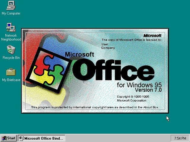 MS OFFICE 7.5 OU MS OFFICE 95