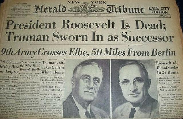 Death of President Roosevelt