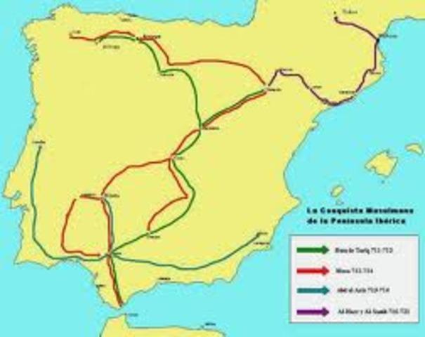 Conquista musulmana de la Península Ibérica.-711