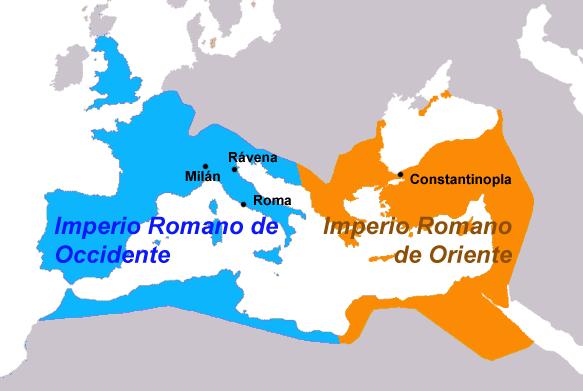 Separación de los imperios romanos de Oriente y Occidente