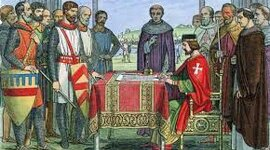 Magna Carta 1215, moved to rule of man to rule of law, included taxation and trial provisions timeline