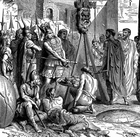 Los galos son vencidos por Camilo y Roma vuelve a ser fundada.