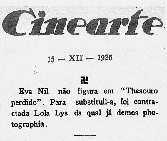 """Eva Nil é substituída no filme """"Thesouro Perdido"""""""